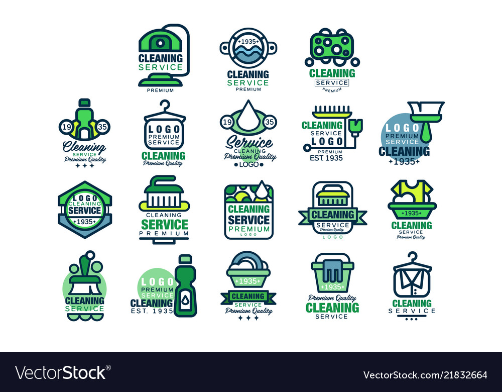 Cleaning service premium quality logo design set