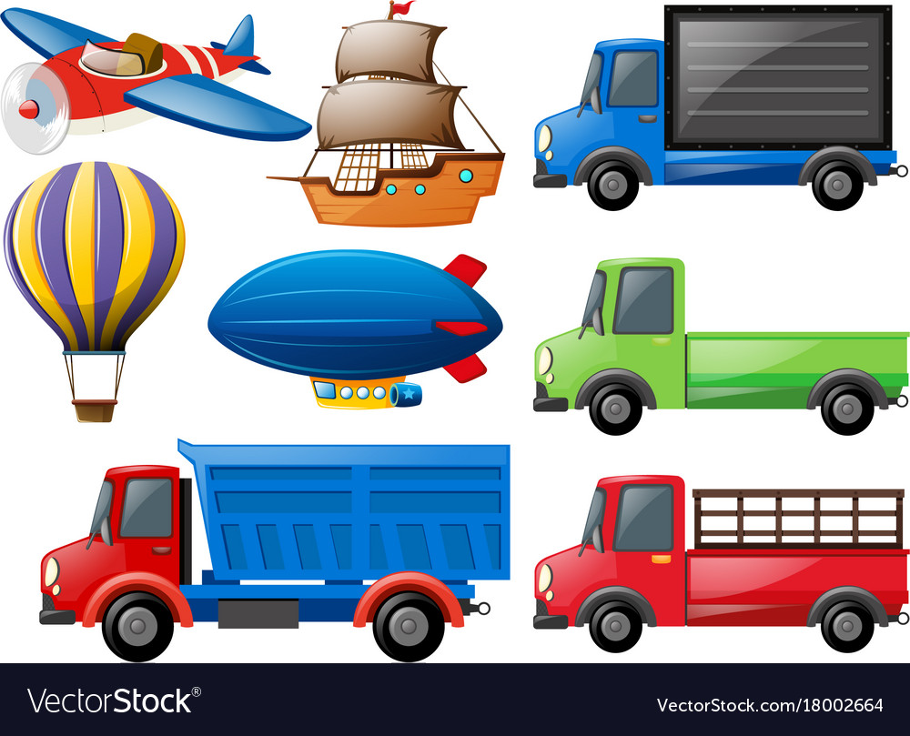Different Types Of Transportations Royalty Free Vector Image