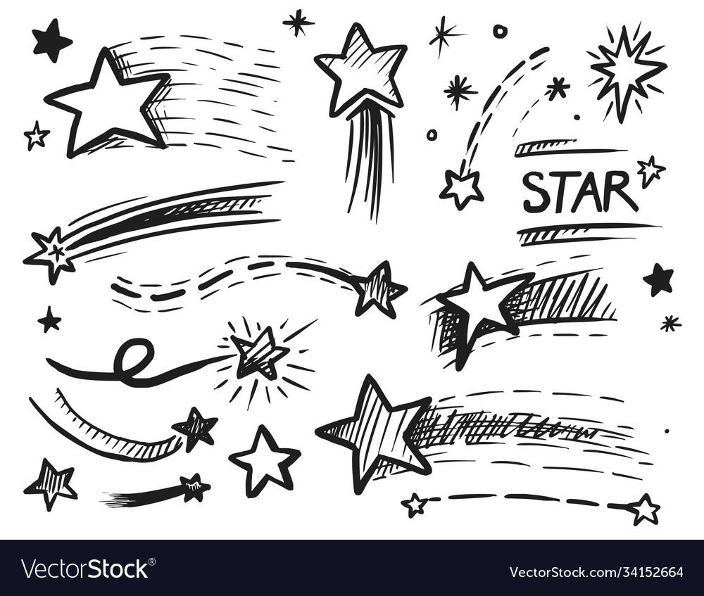 Falling flying shining sparkling star doodle