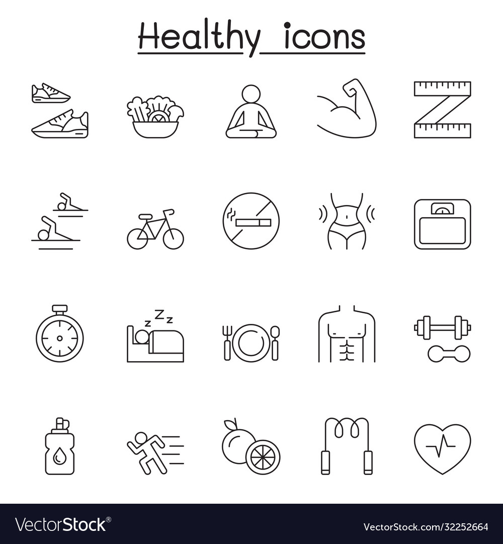 Healthy icons set in thin line style