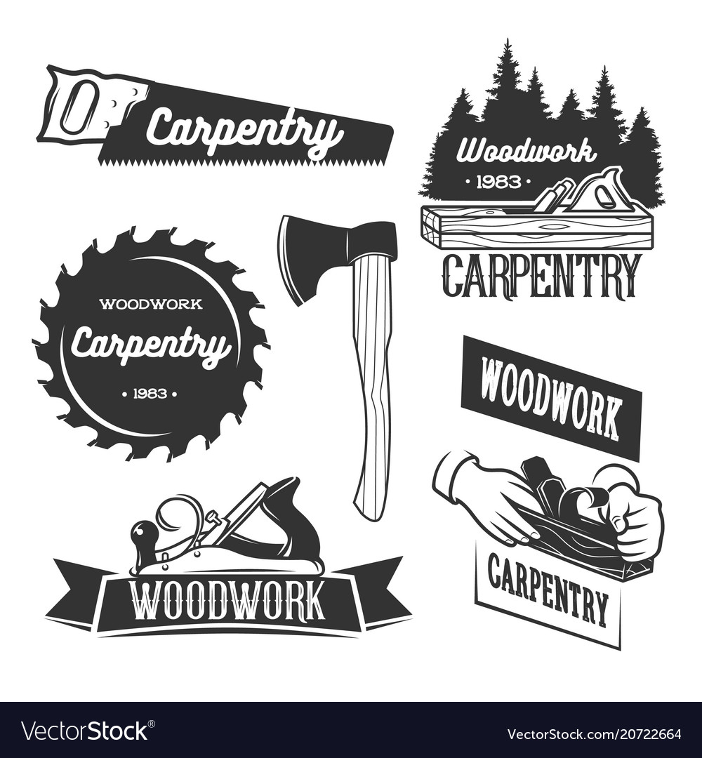 Set of carpentry logo templates Royalty Free Vector Image