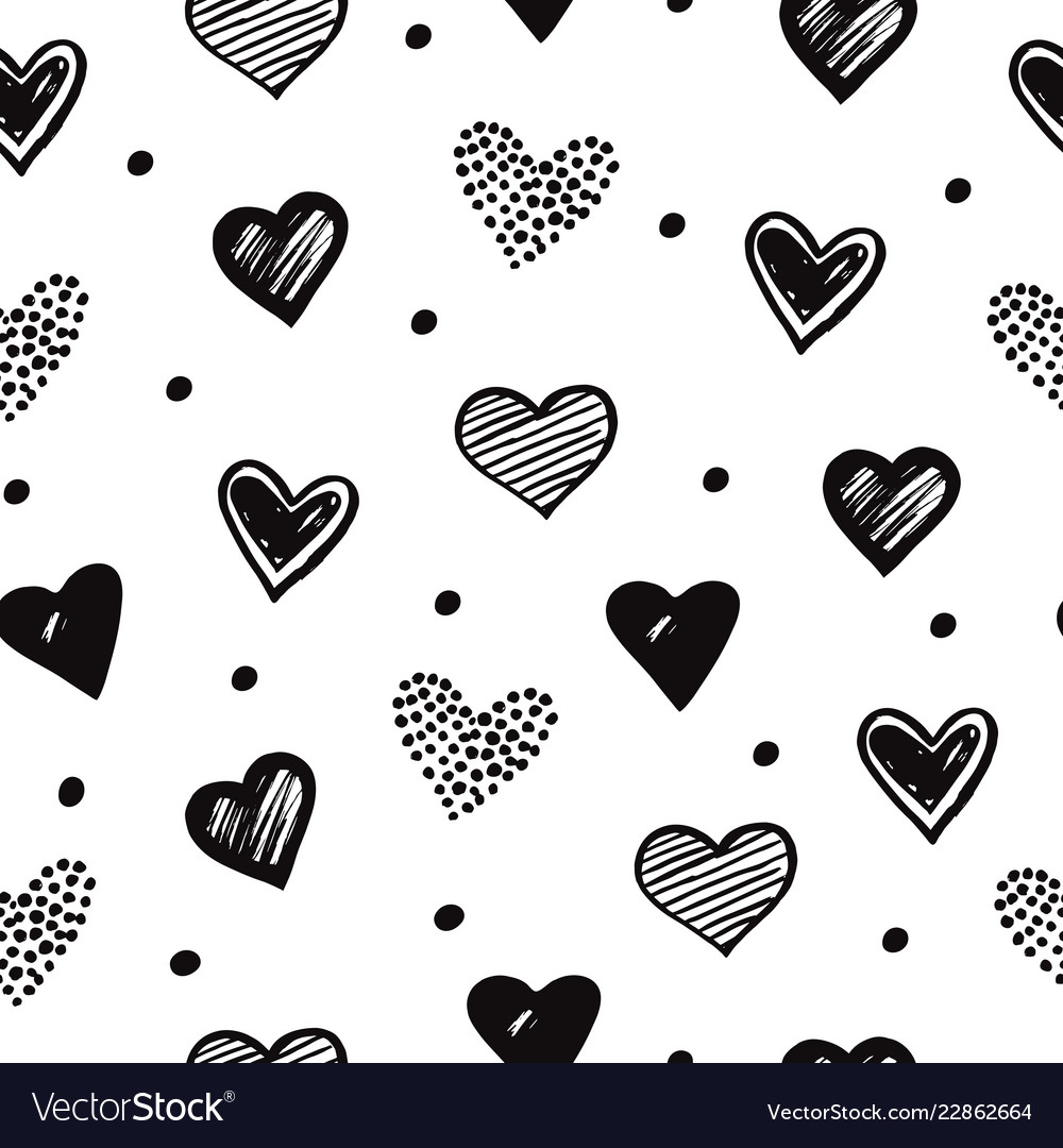 Sketch hearts seamless pattern romantic doodle