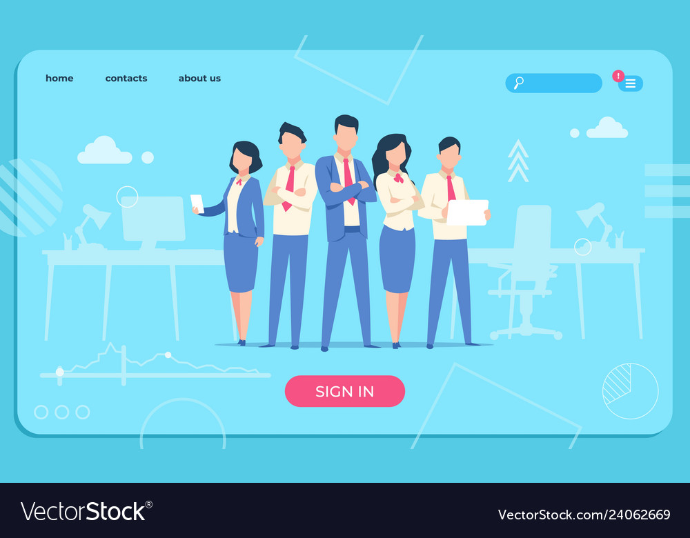 Business characters web page flat office people