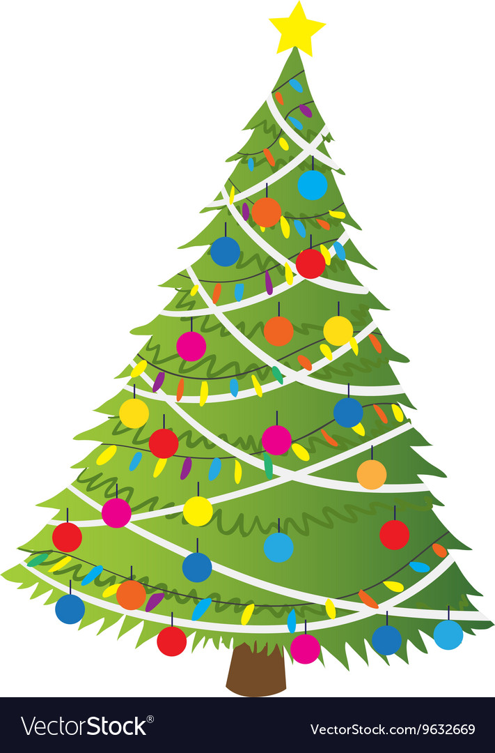 Cartoon christmas tree flat sticker icon