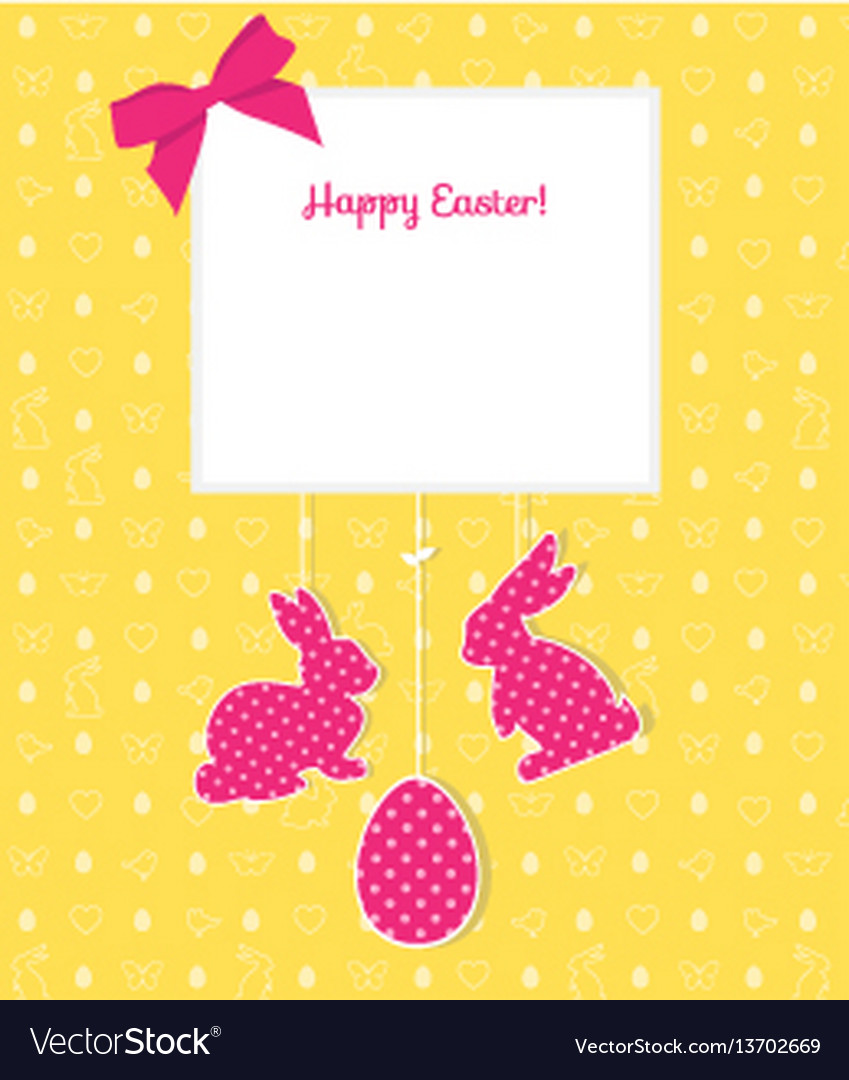 Easter card with egg rabbits and seamless pattern