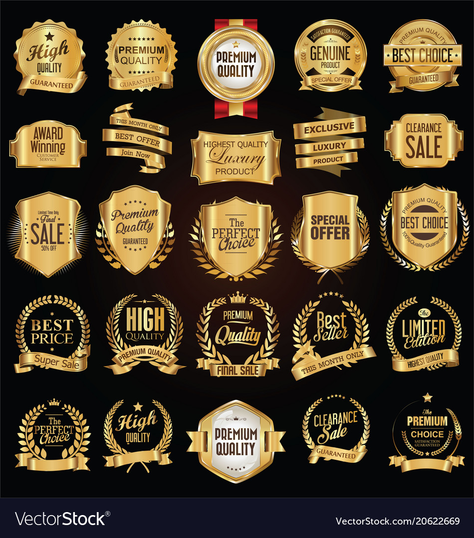 Golden labels and badges collection vector image