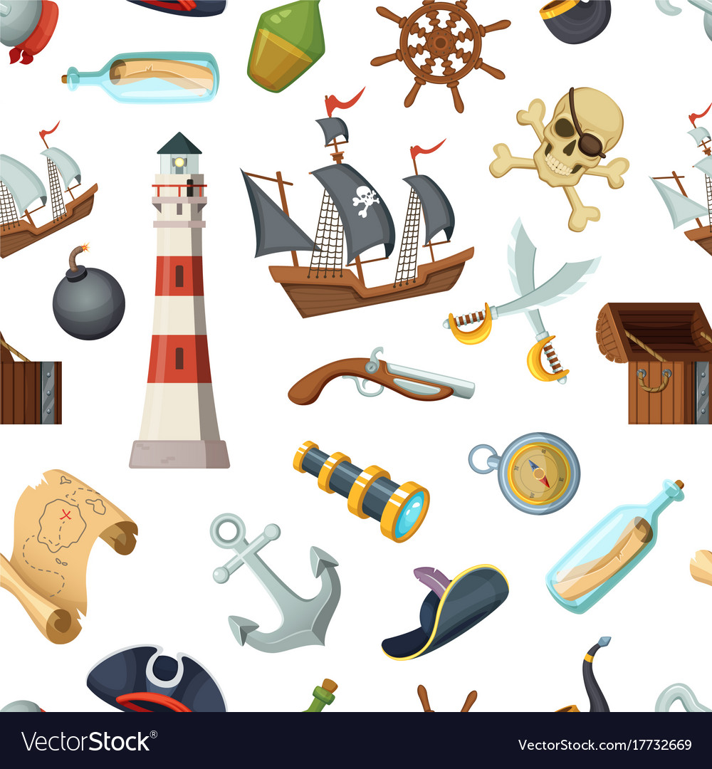 Marine seamless pattern with different pirates