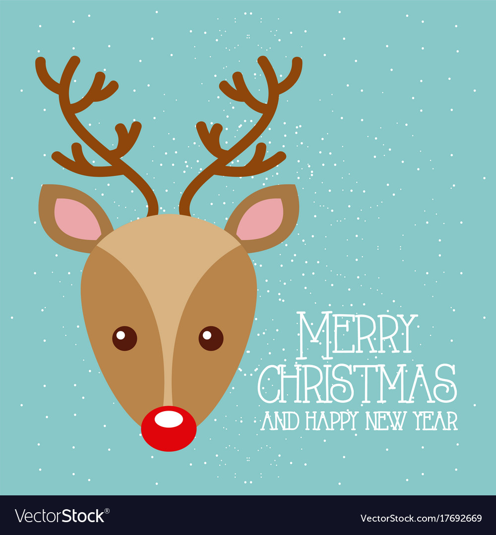Merry christmas and happy new year cute deer red