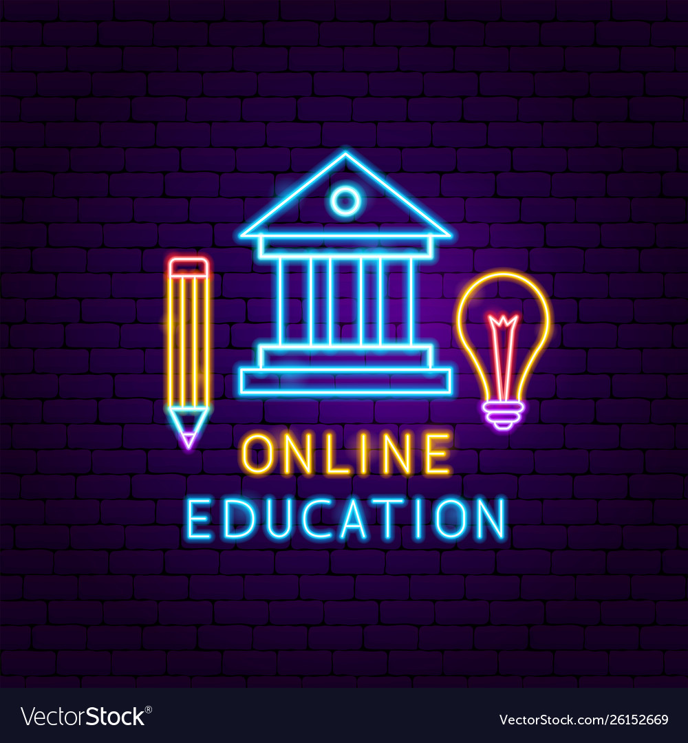 Online education neon label