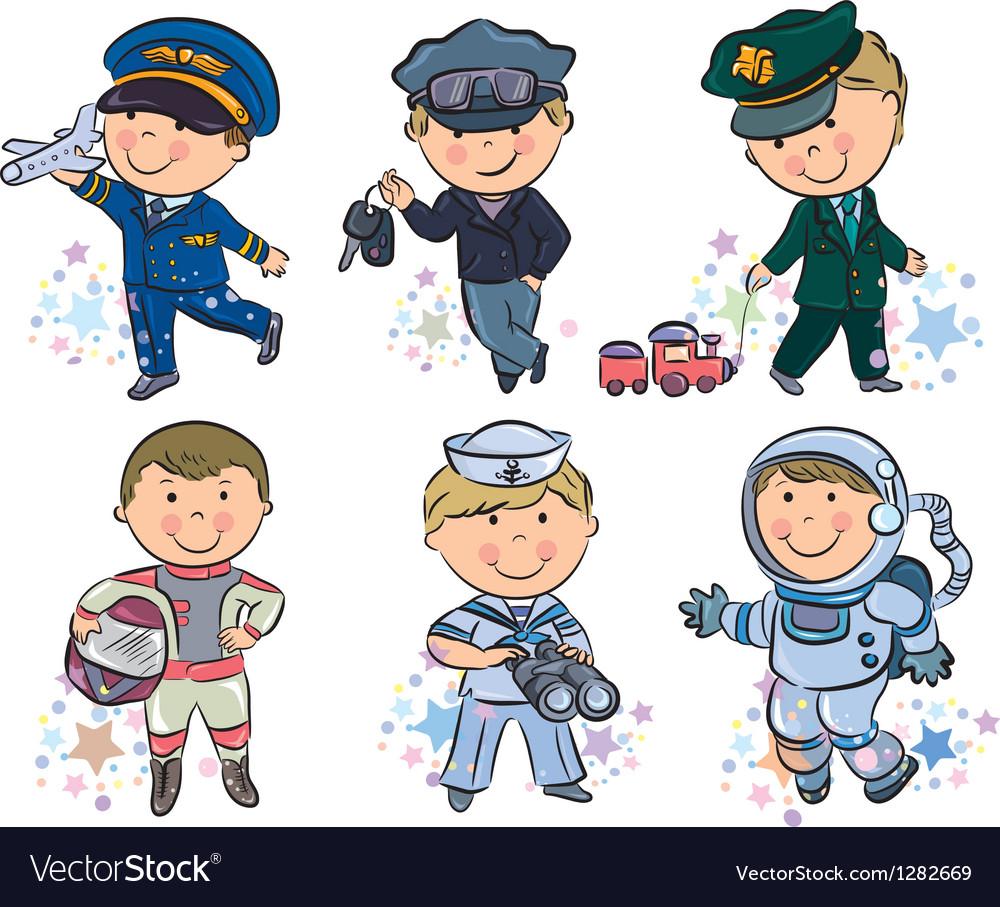 Professions kids set 1 vector image