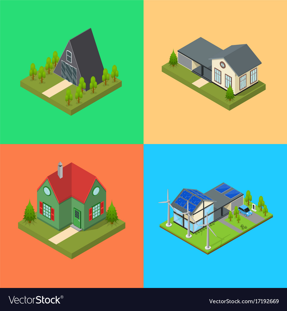 Residential building card set isometric view