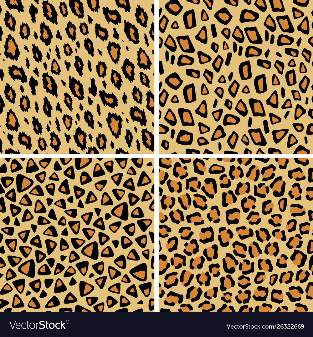 Set leopard skin seamless pattern wild cat