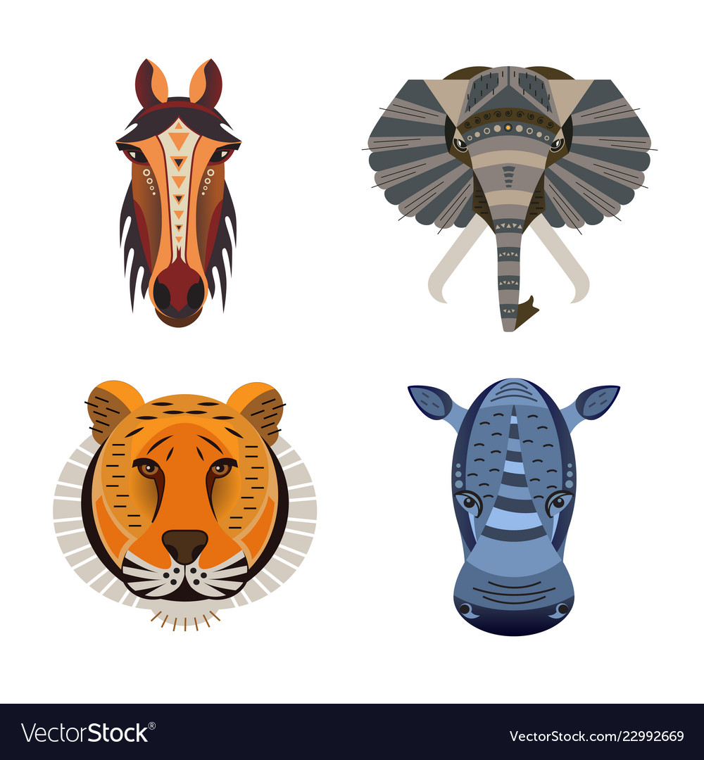 5d0a50c41 Set of african animals geometric of tiger Vector Image
