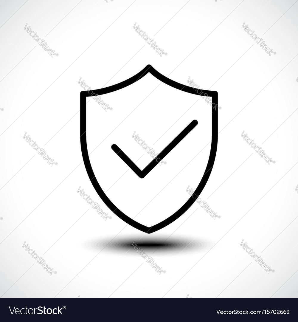 Tick shield security icon vector image