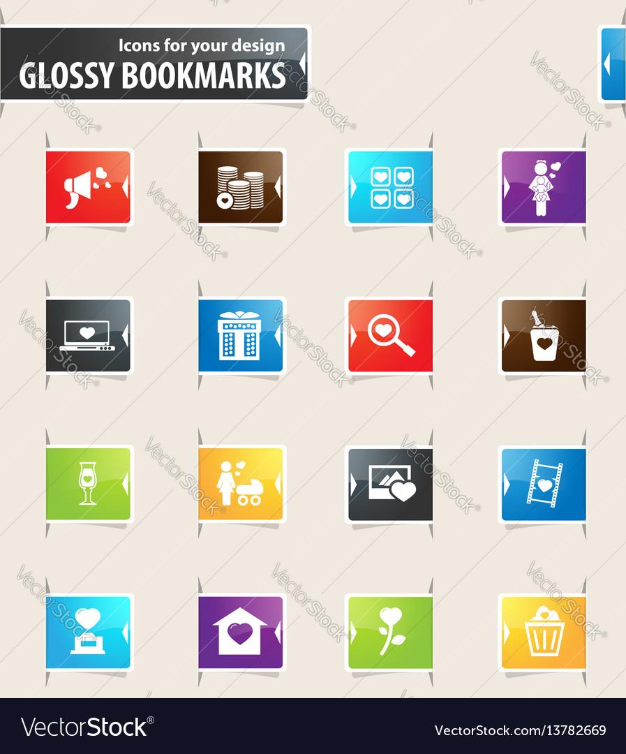 Valentine day bookmark icons