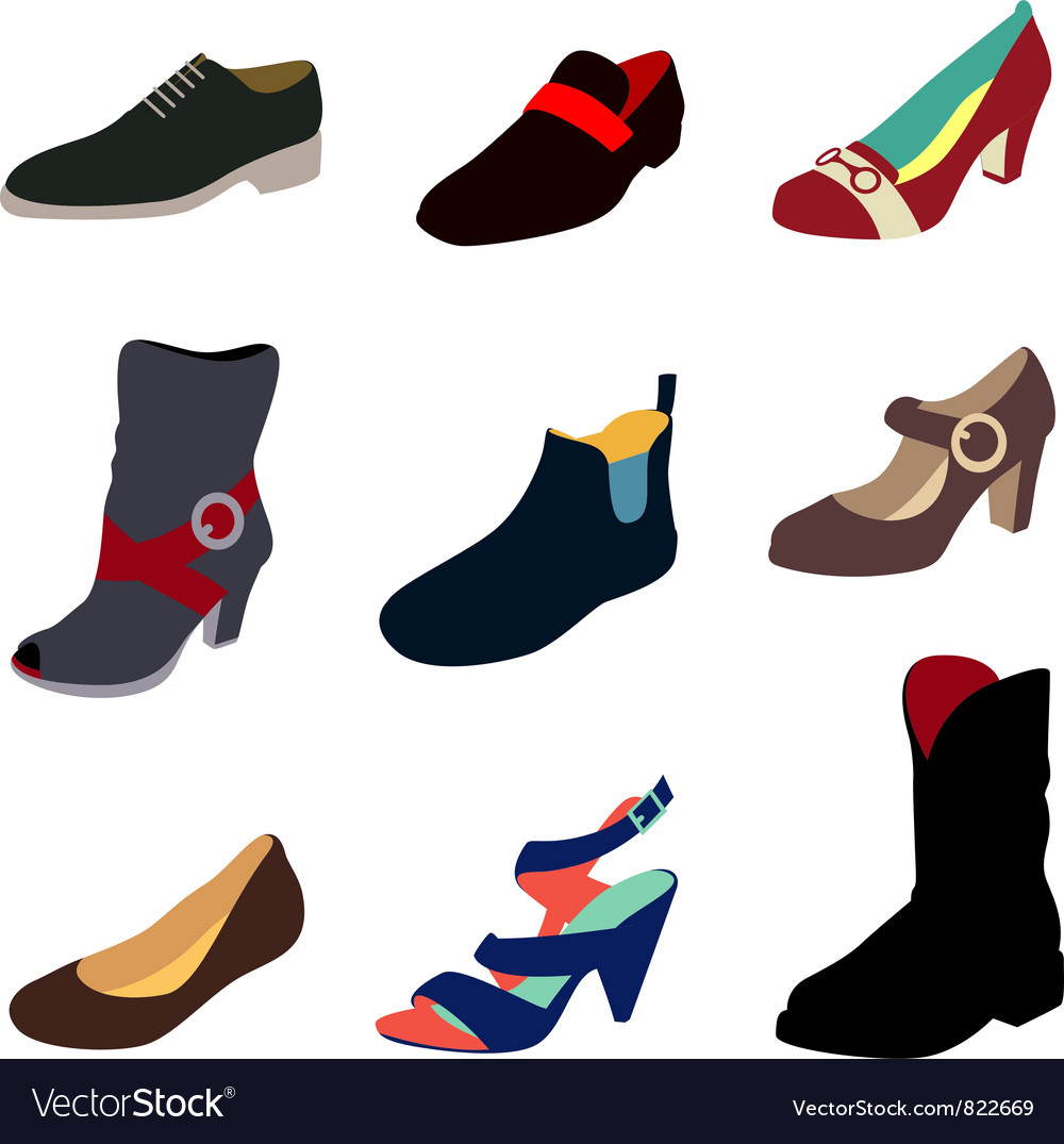 Various shoes collection vector image