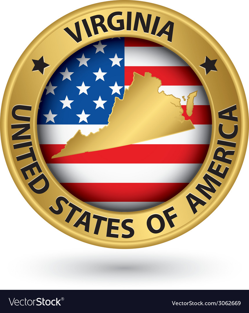 Virginia State Gold Label With State Map Vector Image