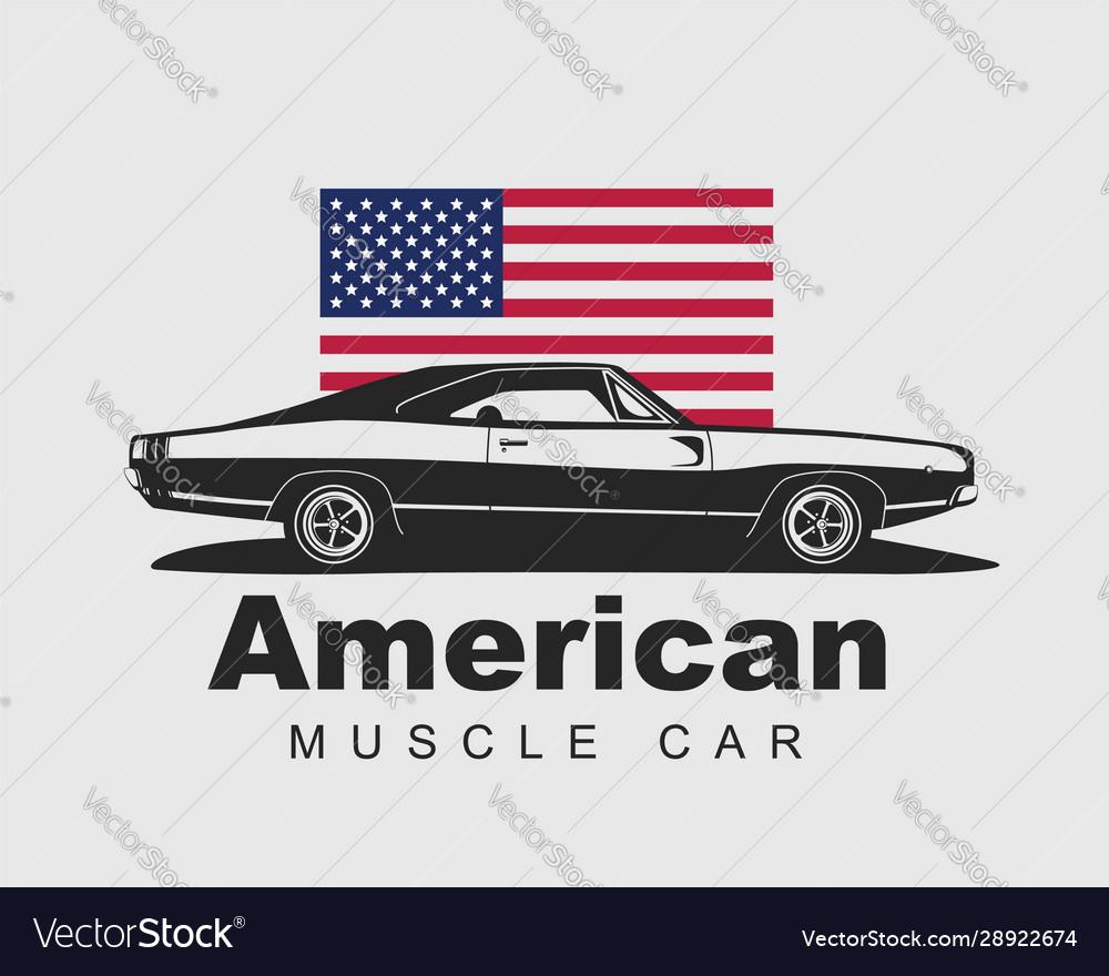American muscle car supercar garage logo