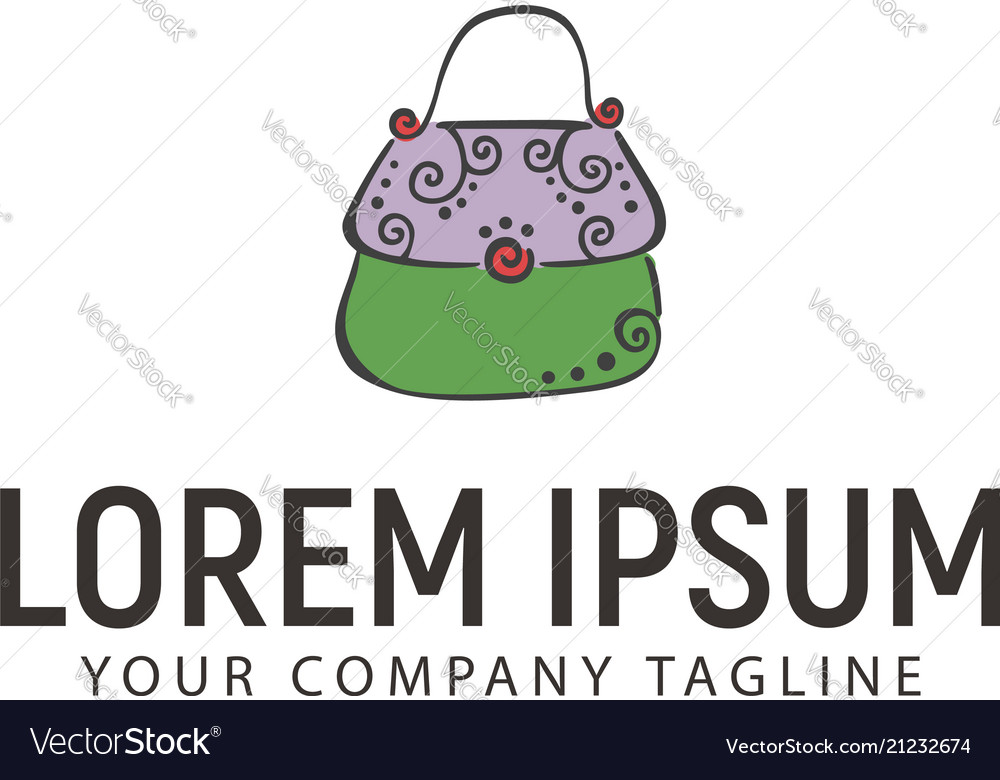 Bag accessories hand drawn logo design concept