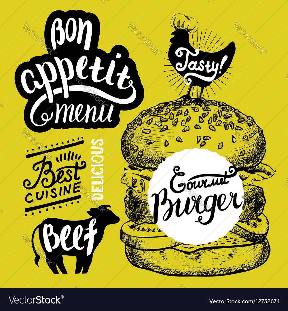 Burger food element for restaurant and cafe