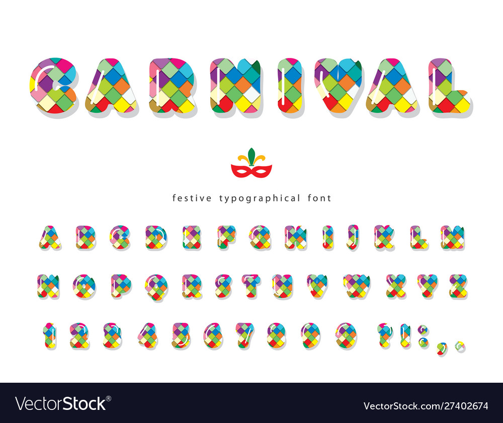 Carnival 3d glossy font colorful bright