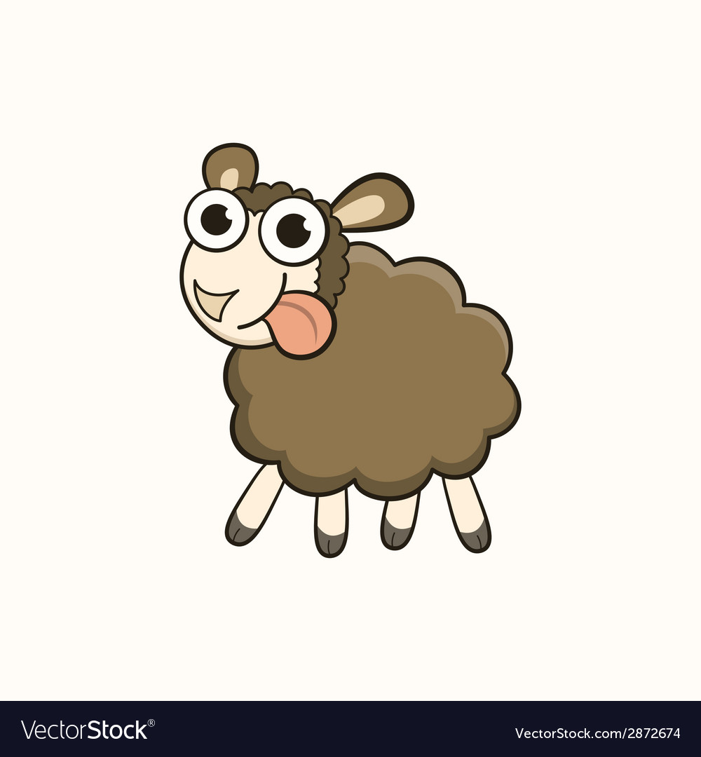 Cartoon sheep character for Christmas and New Year