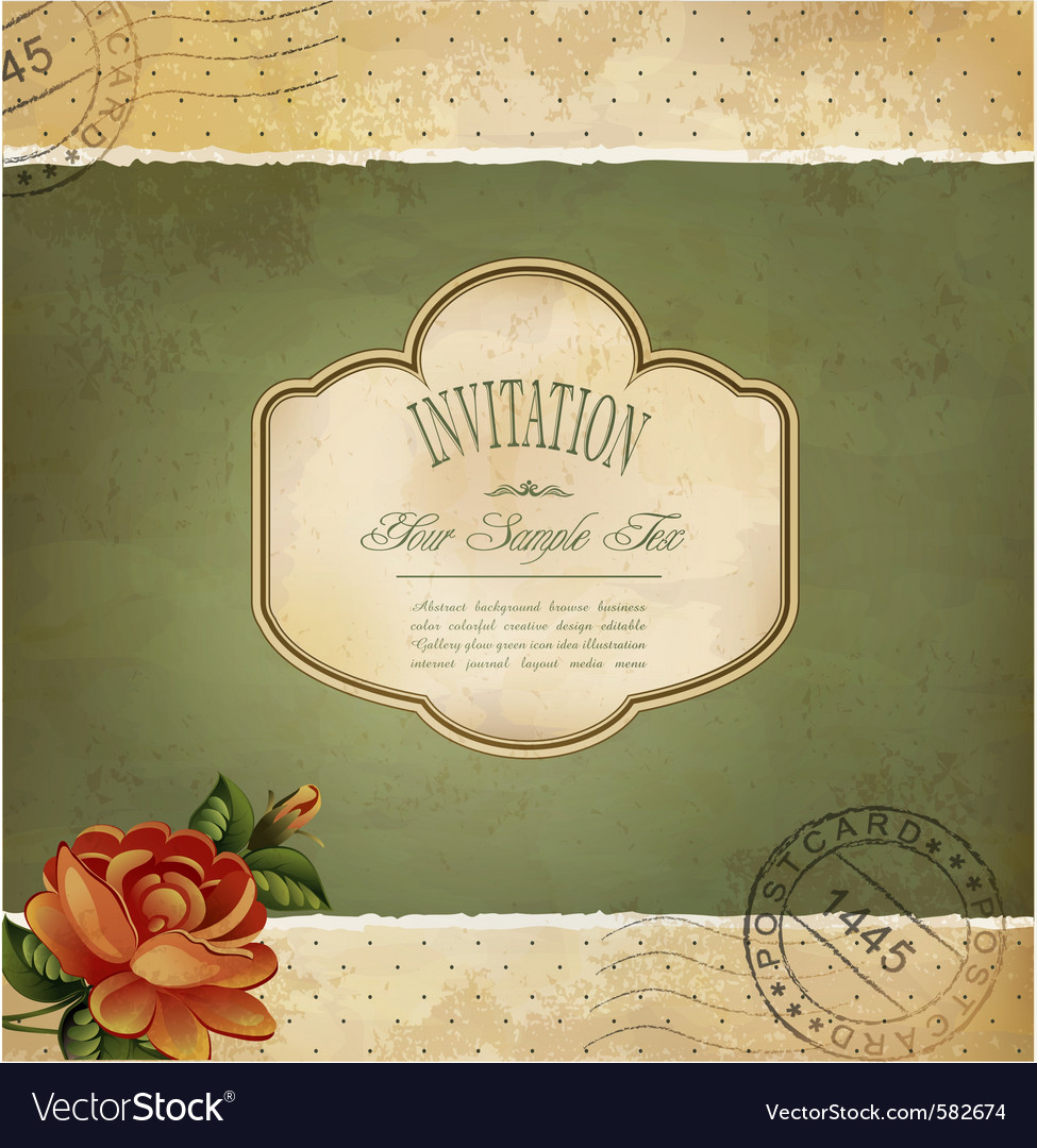 Grunge vintage invitation vector image