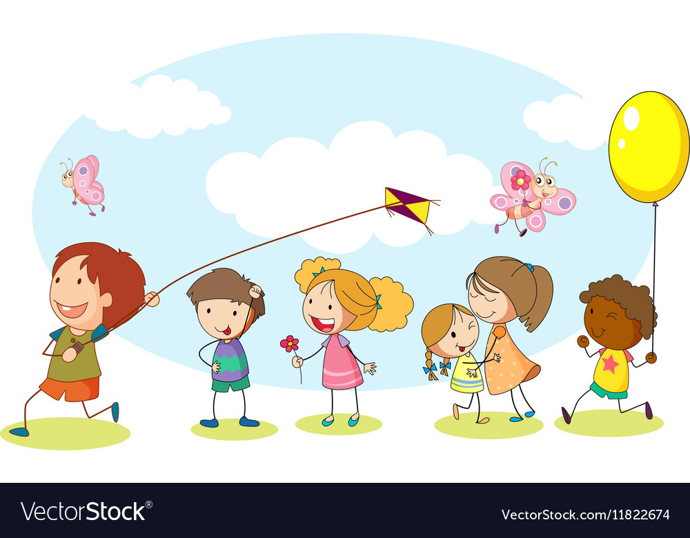 Happy kids playing in the garden vector image