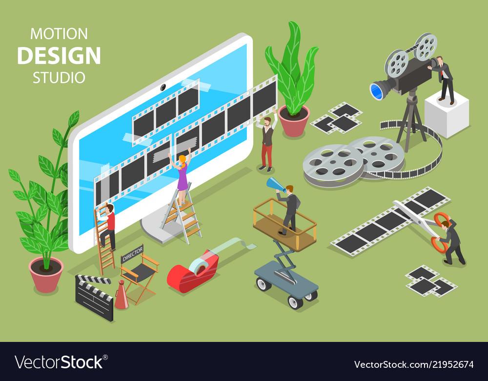 Motion design studio isometric flat concept