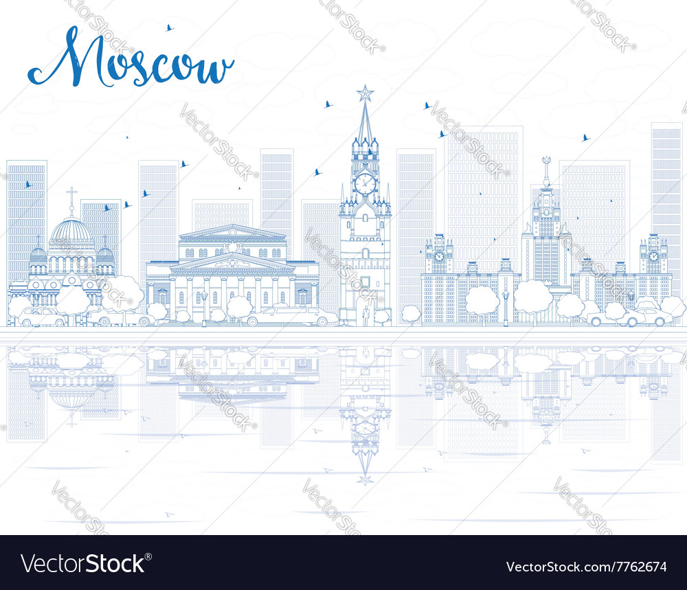 Outline Moscow skyline with blue landmarks