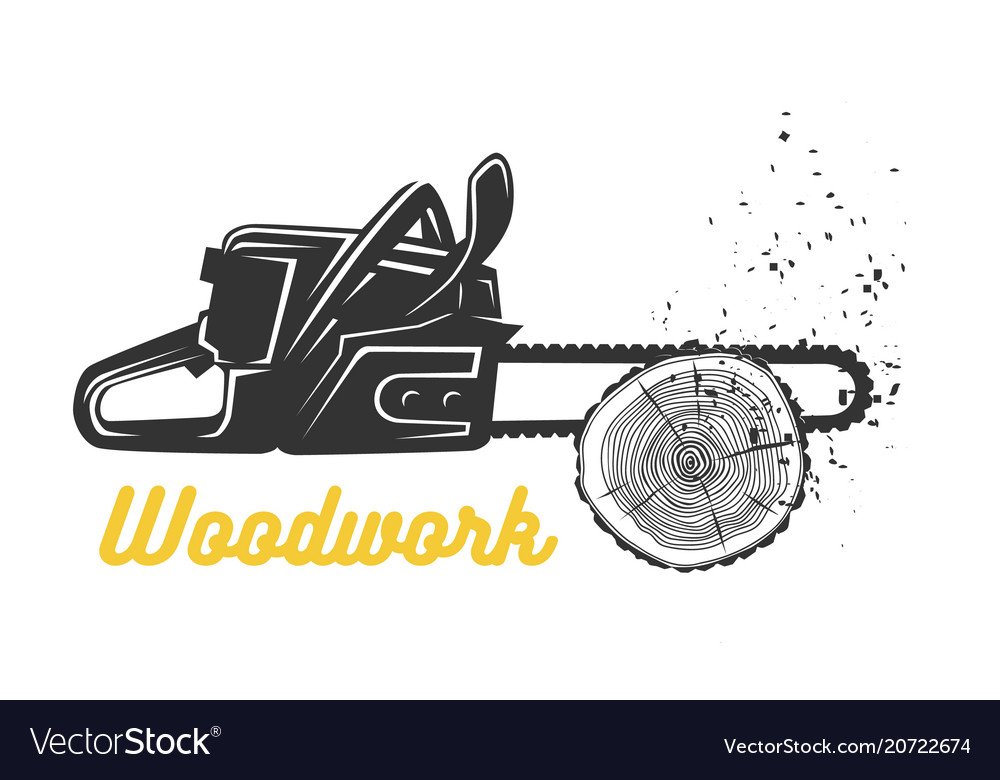 Woodworking chainsaw logo template