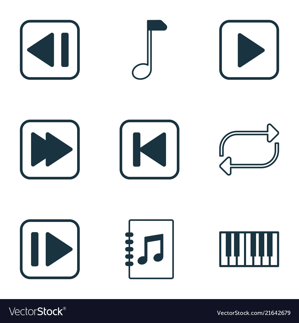 Audio icons set with forward music next song