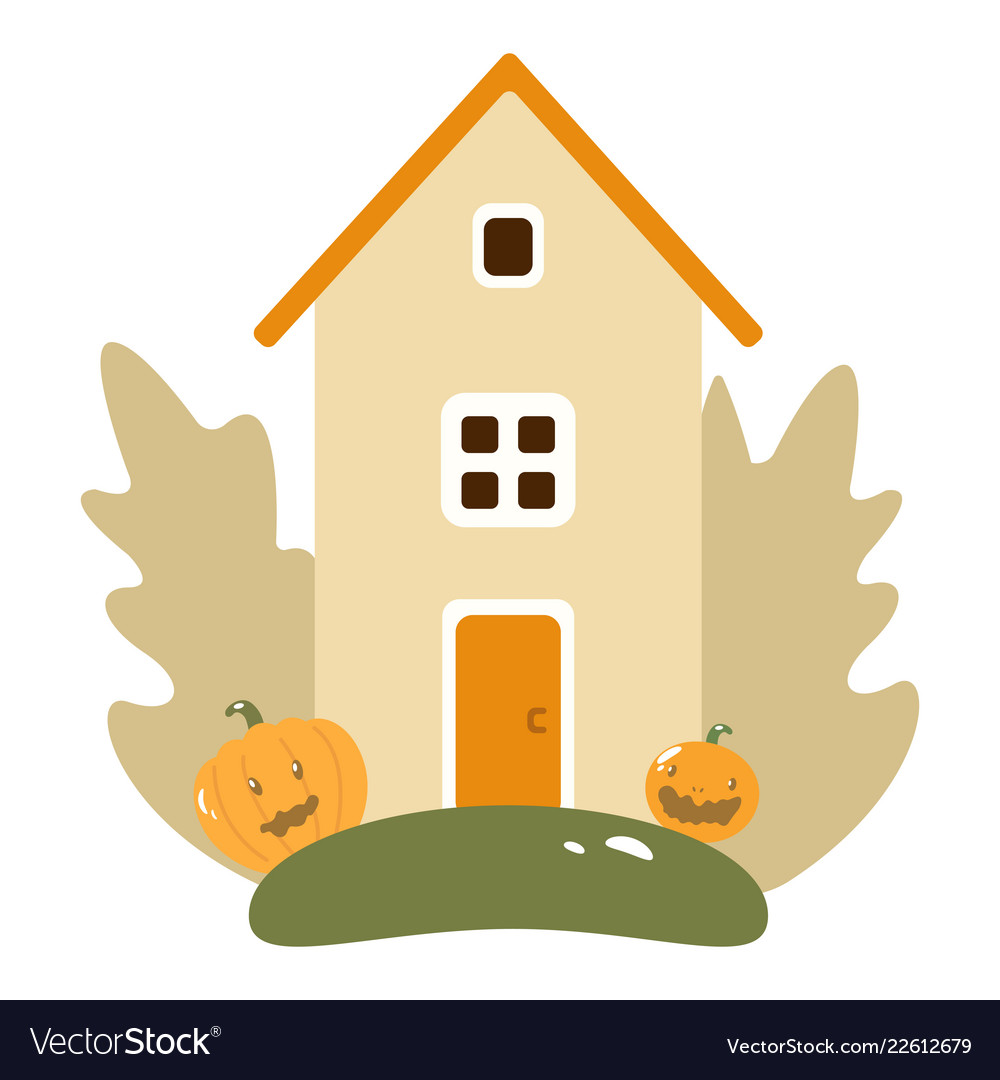 Autumn landscape with wooden house pumpkins