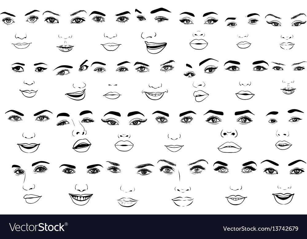 Beautiful fashion woman portrait set for make up vector image