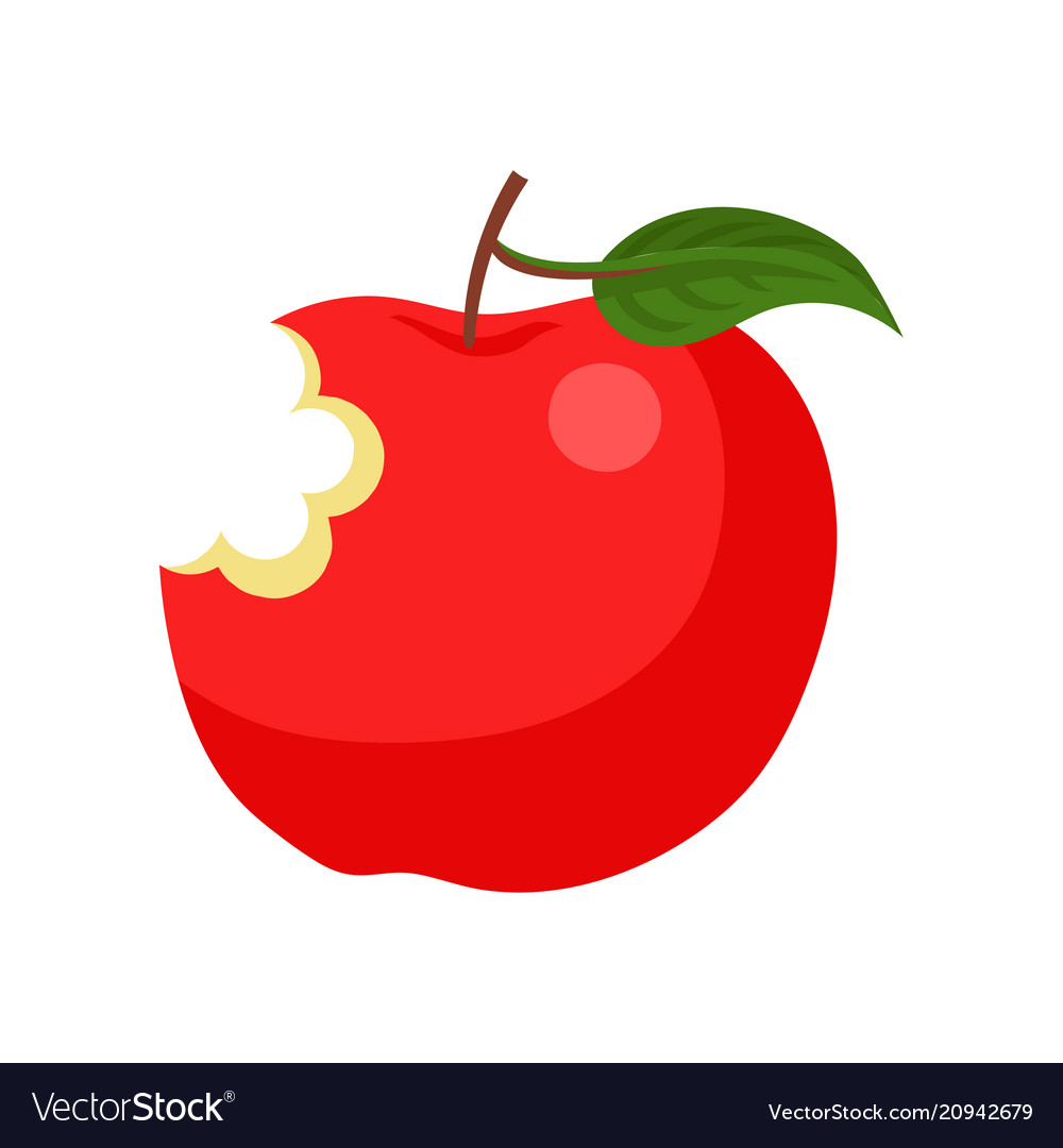 Bright red bitten apple with green leaf ripe and