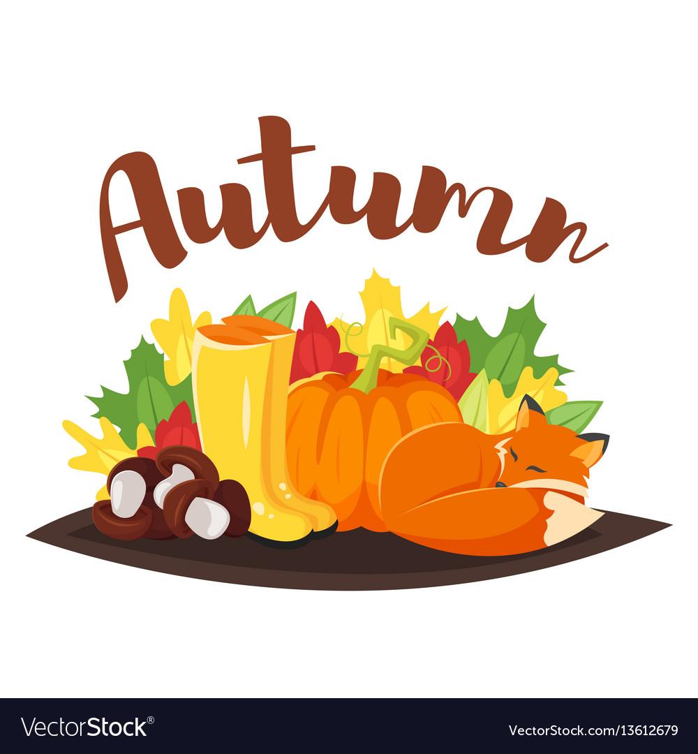Cartoon style autumn background with fox pumpkin