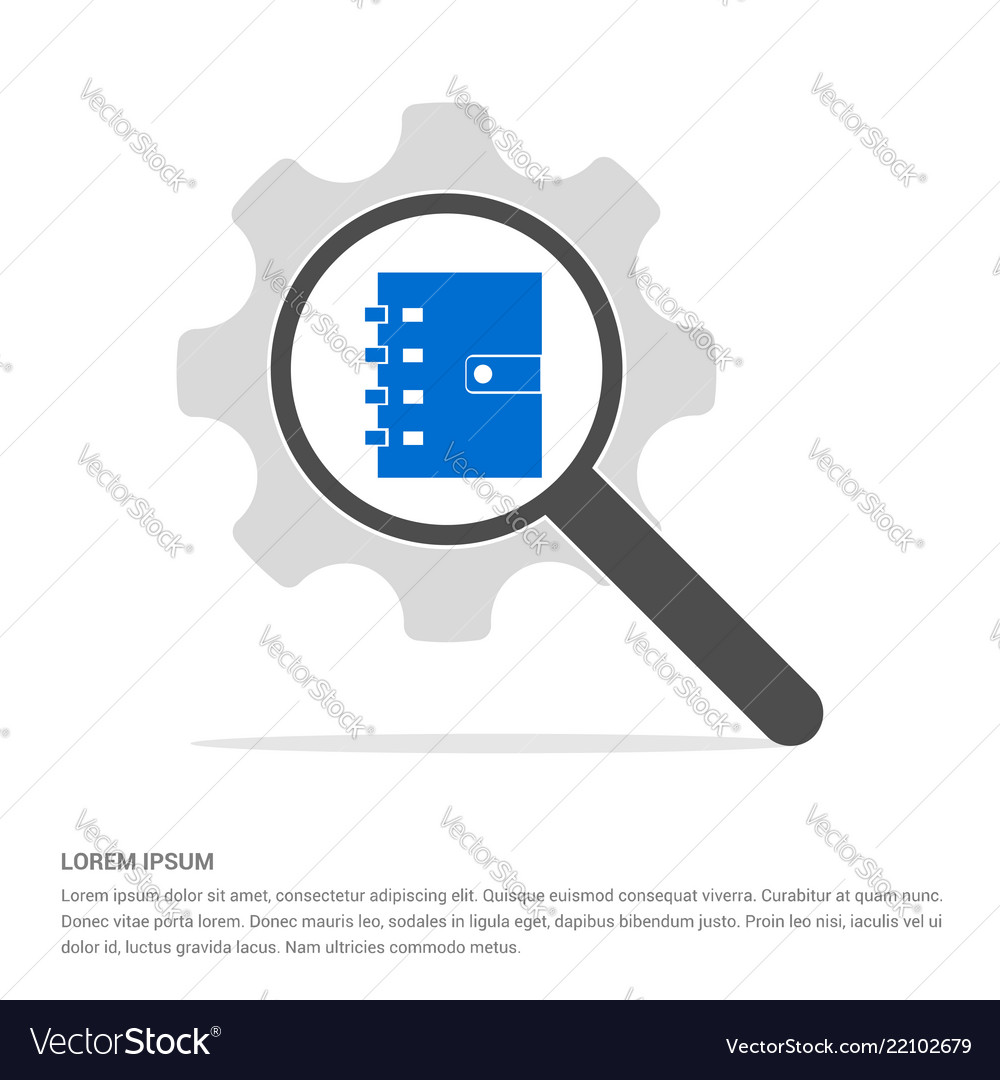 Contact book icon search glass with gear symbol