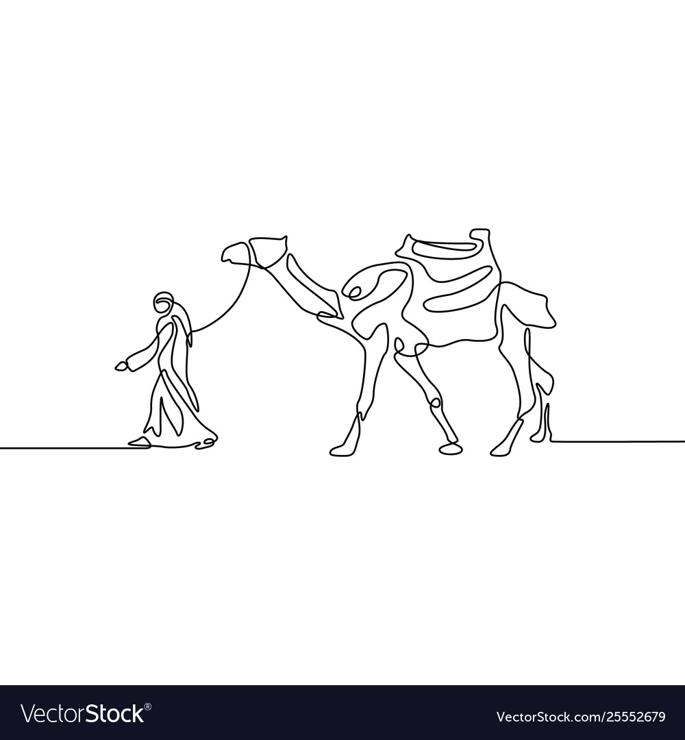 Continuous line drawing man leads a camel