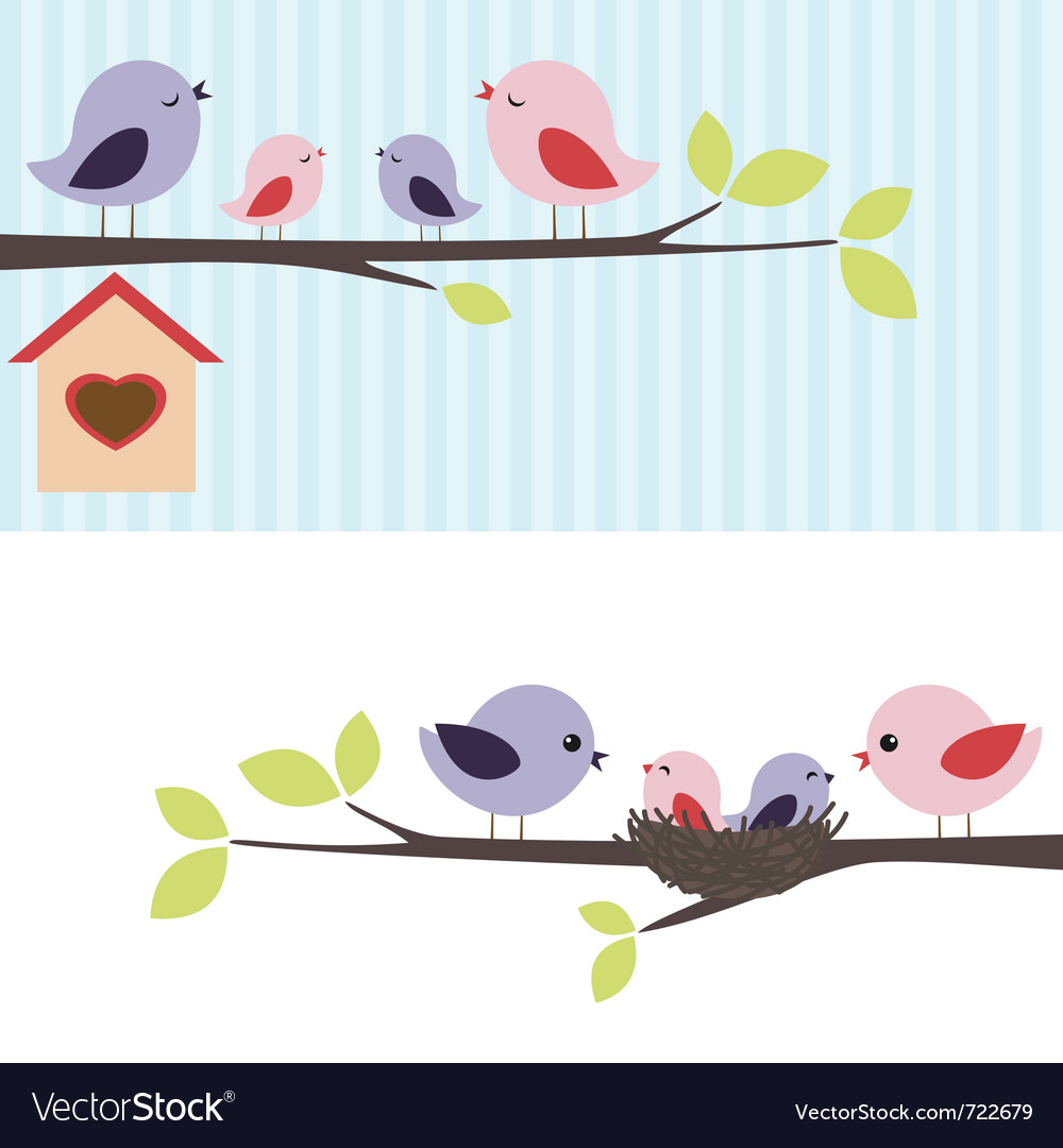 Family of birds vector image
