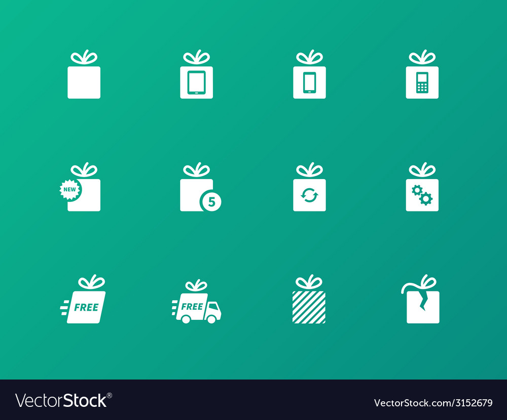 Gift box set on green background vector image