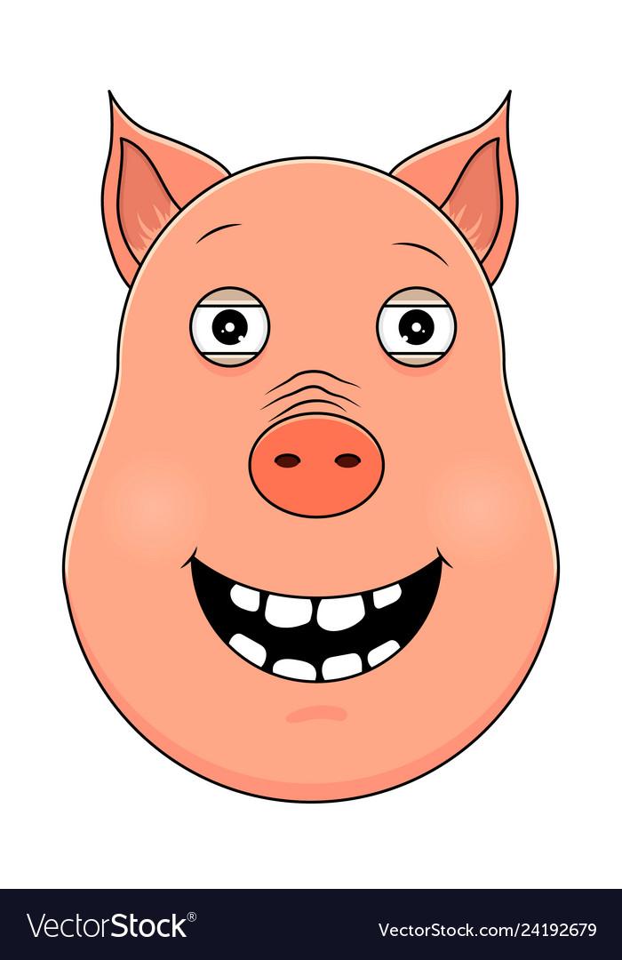 Head of happy pig in cartoon style kawaii animal