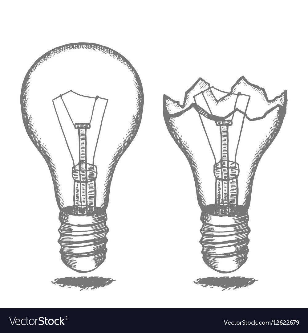 Lamp Bulb Hand Draw Sketch Royalty Free Vector Image for Lamp Bulb Drawing  568zmd