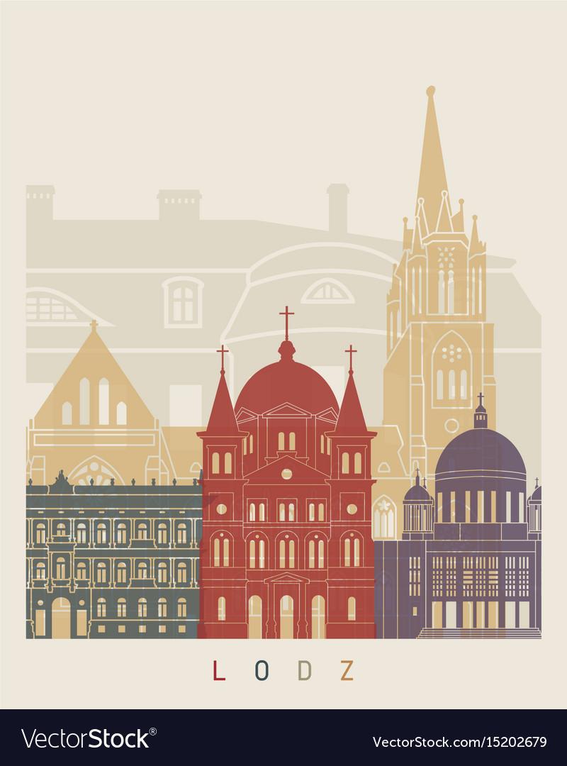 Lodz skyline poster