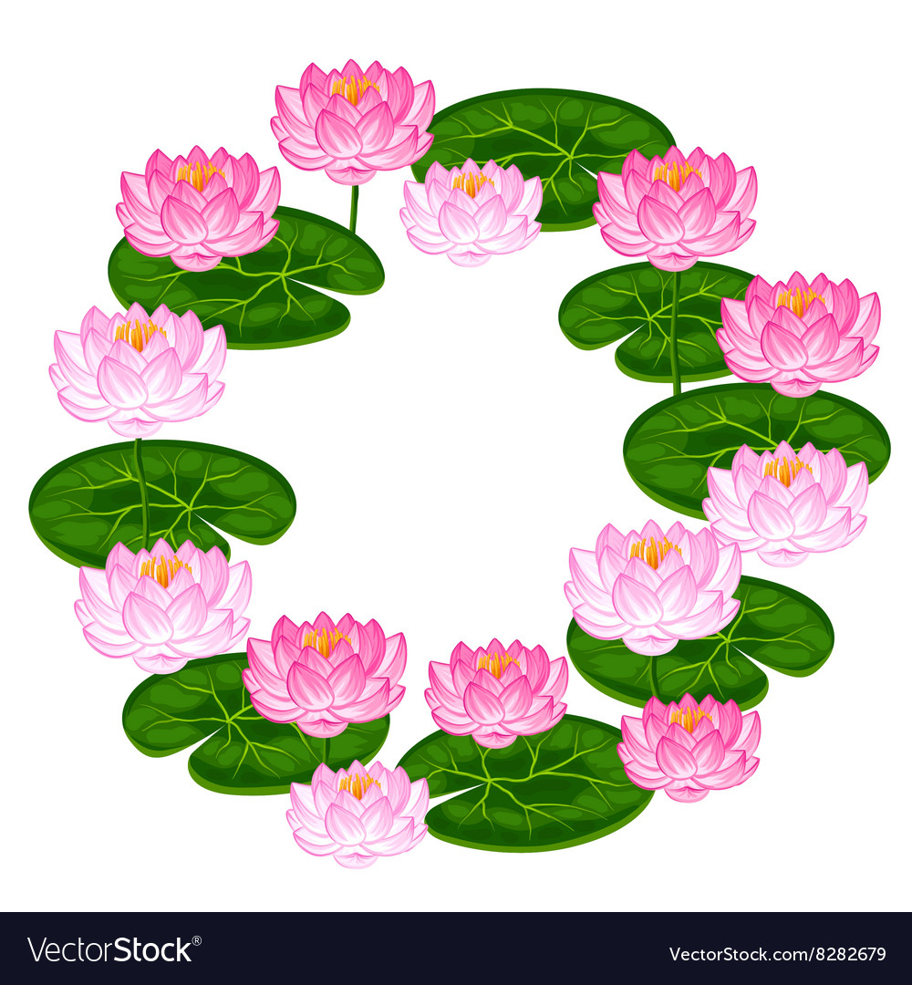 Natural Frame With Lotus Flowers And Leaves Image Vector Image