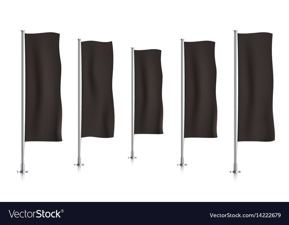 Row of black vertical banner flags