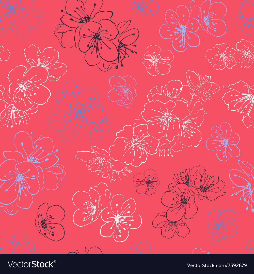 Seamless pattern cherry blossoms