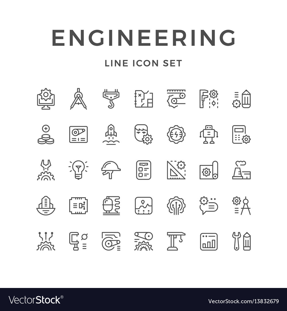 Set line icons of engineering