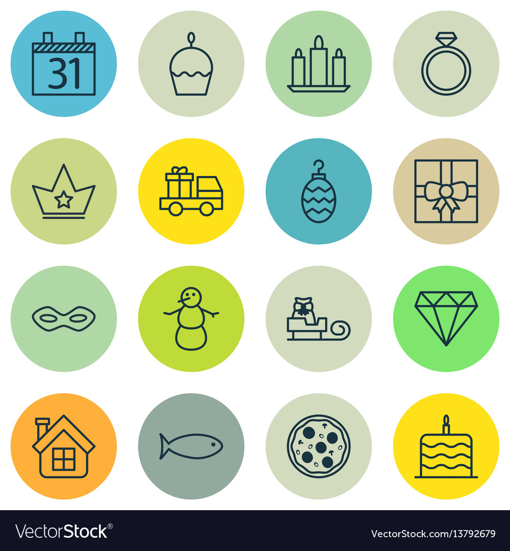 Set of 16 celebration icons includes date