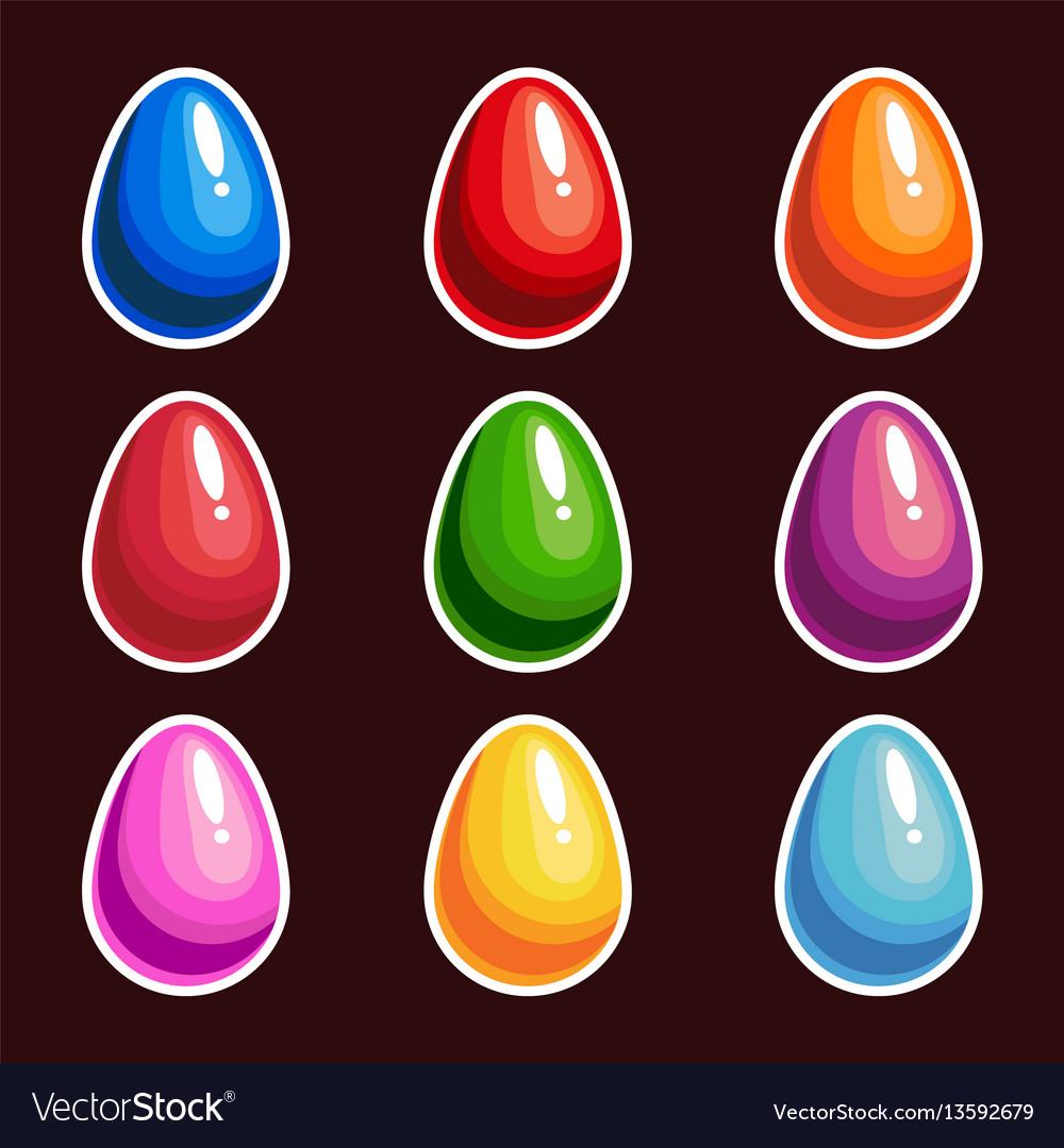 Set of cartoon colorful eggs