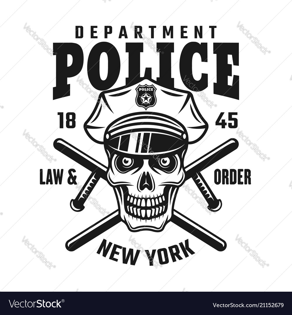 Skull in police cap with batons emblem